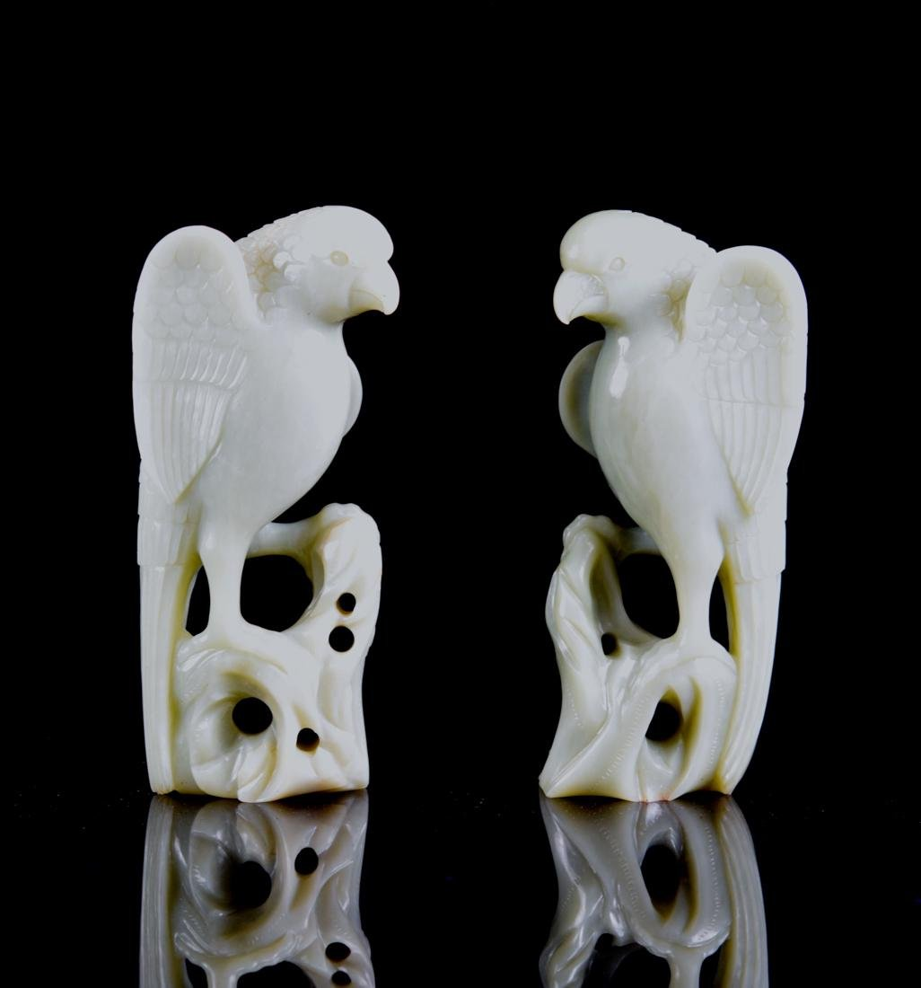 Pair Chinese Jade Parrots