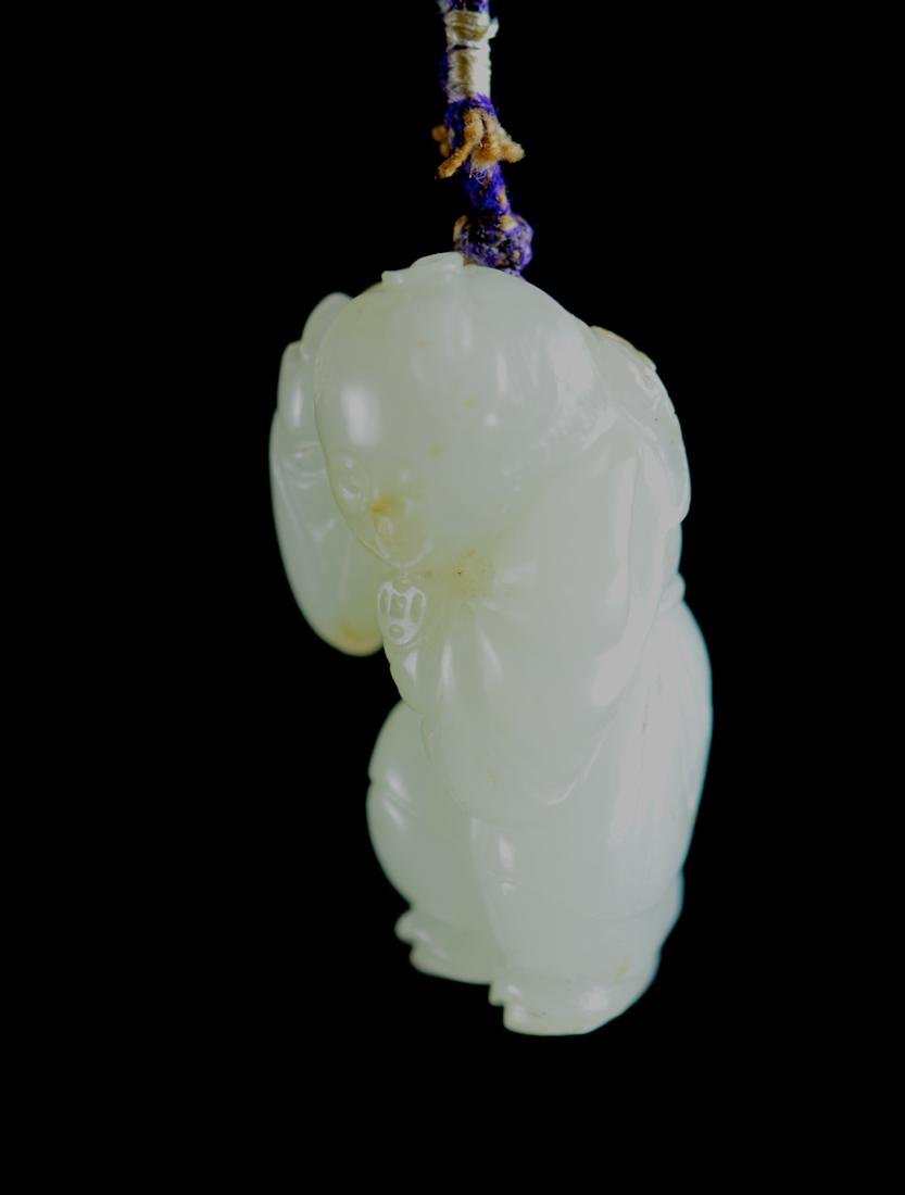 Chinese White Jade Boy with Bats - 7