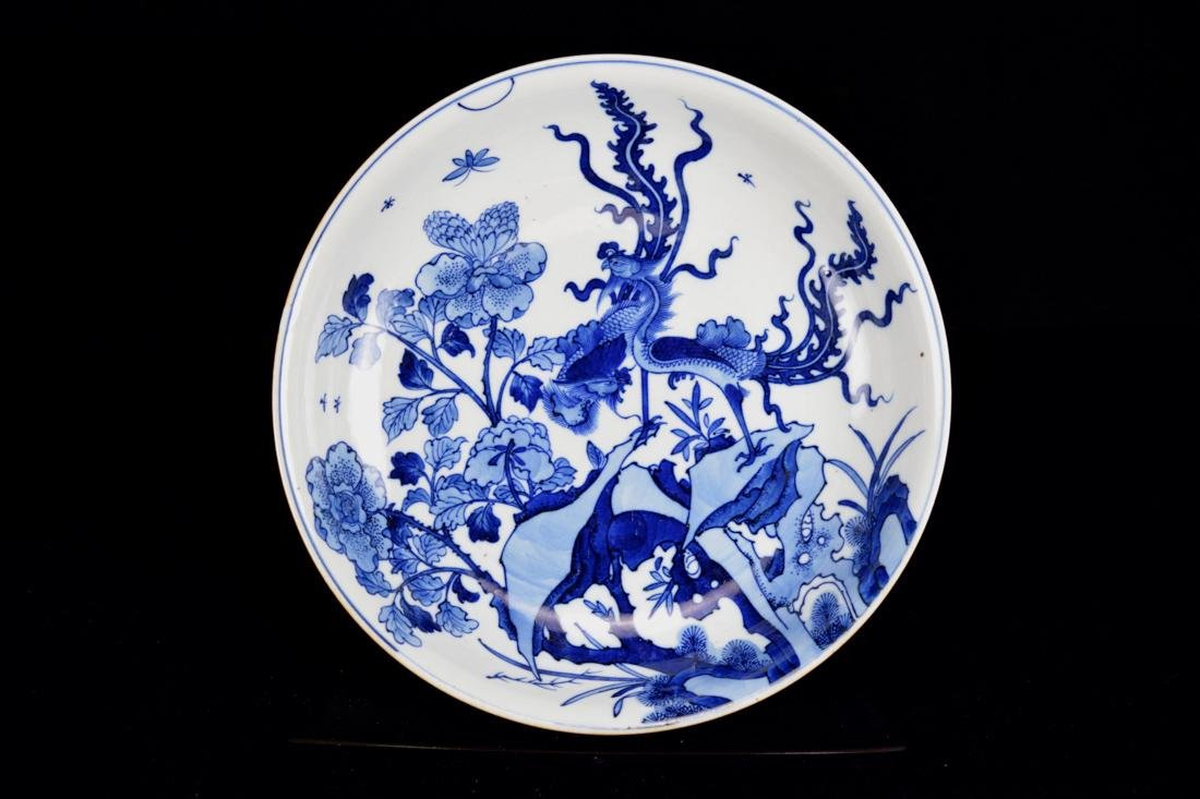 Chinese Blue White Kangxi Porcelain Charger with