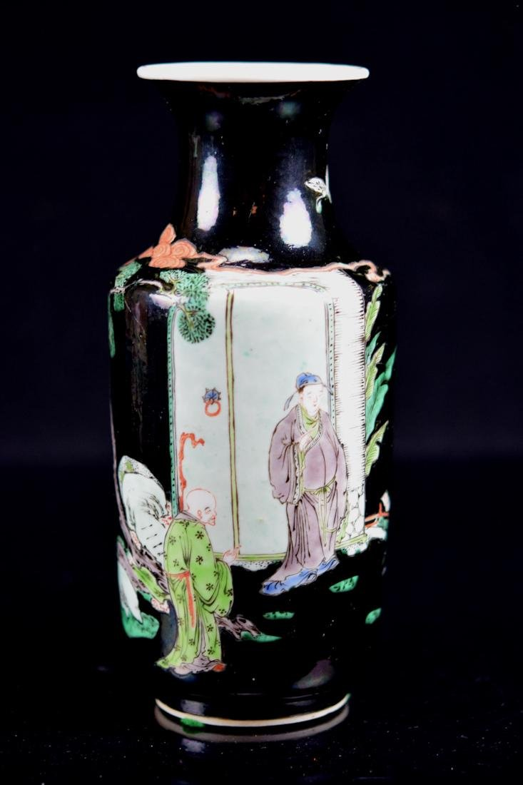 Chinese Famille Noire Porcelain Vase with Figural Scene