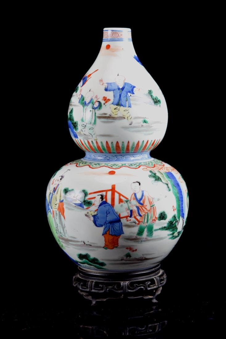 Chinese Wucai Porcelain Double Gourd Vase with Base