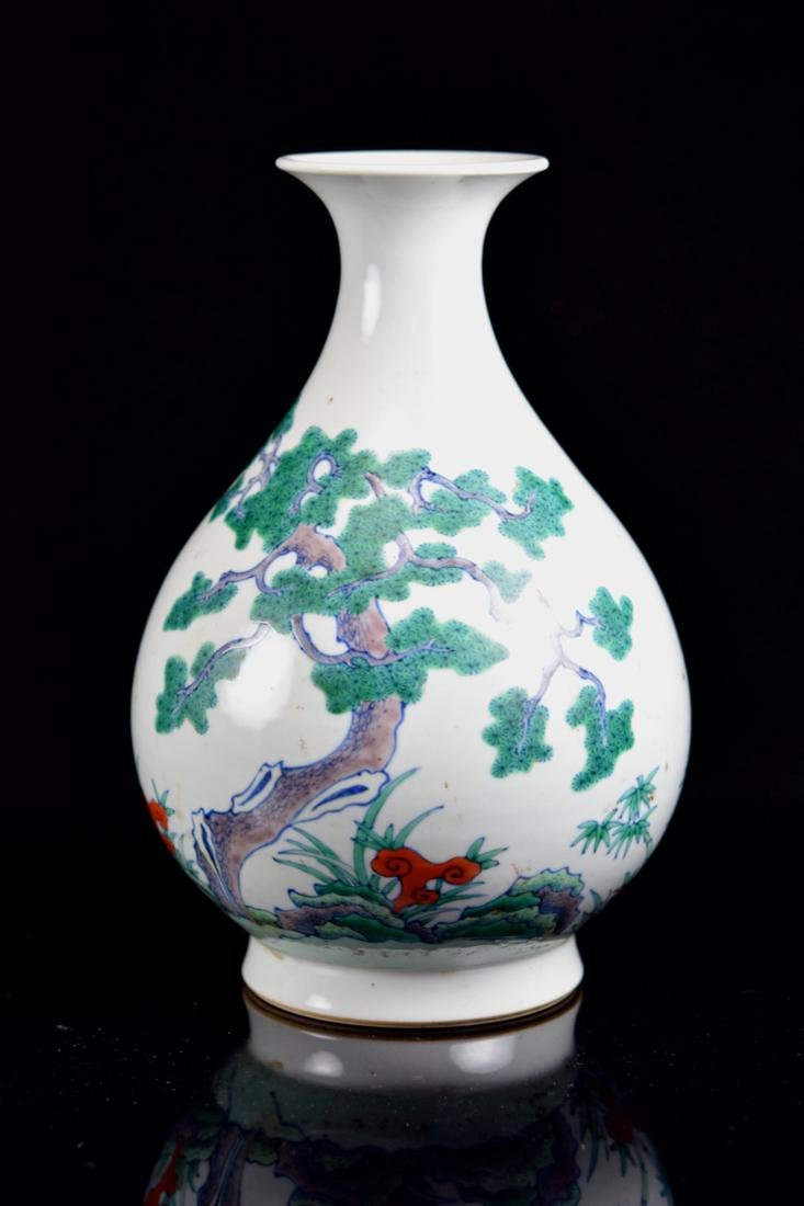 Chinese Doucai Porcelain Vase - Three Friends