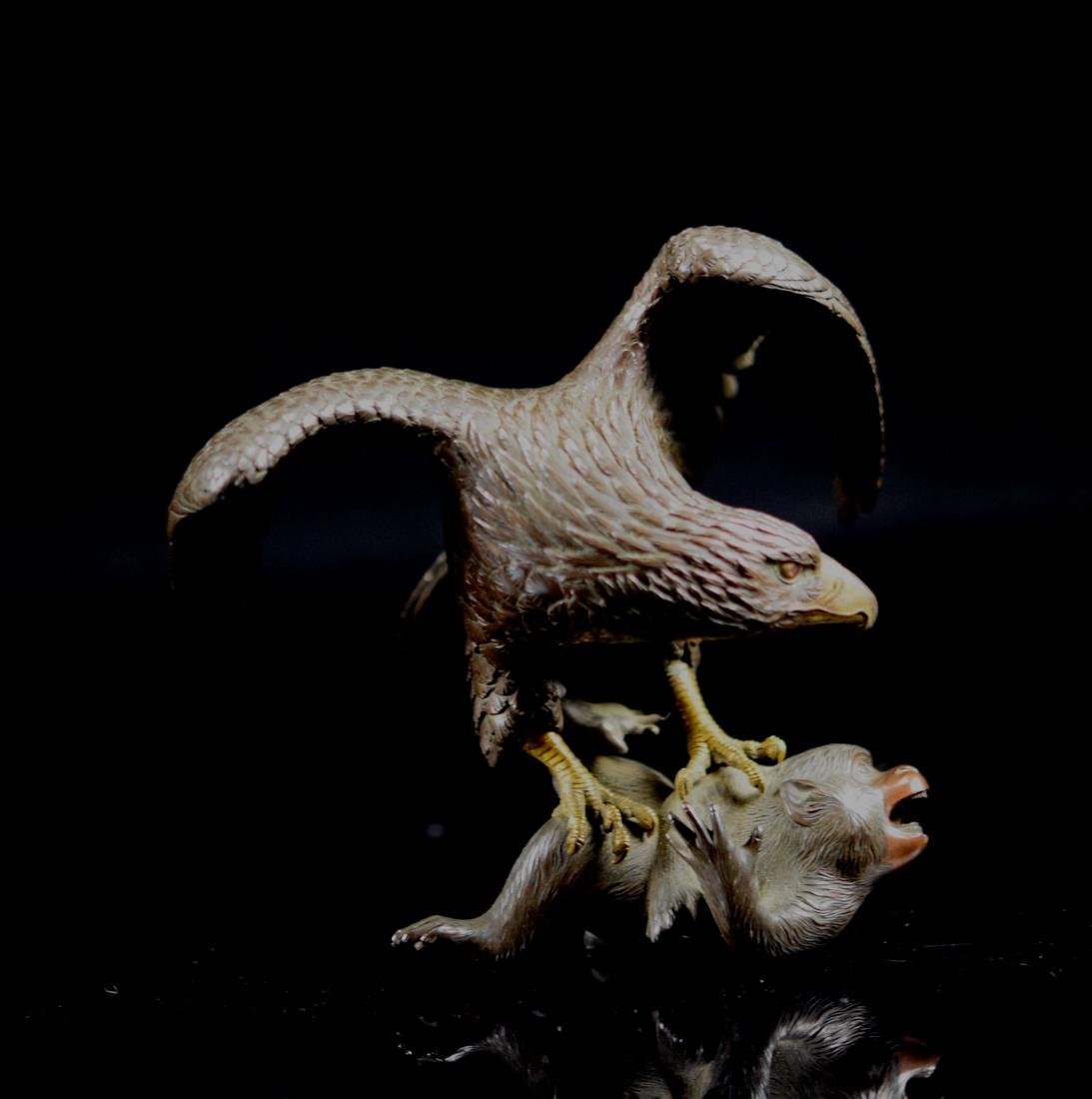 Japanese Bronze Hawk Fighting Monkey