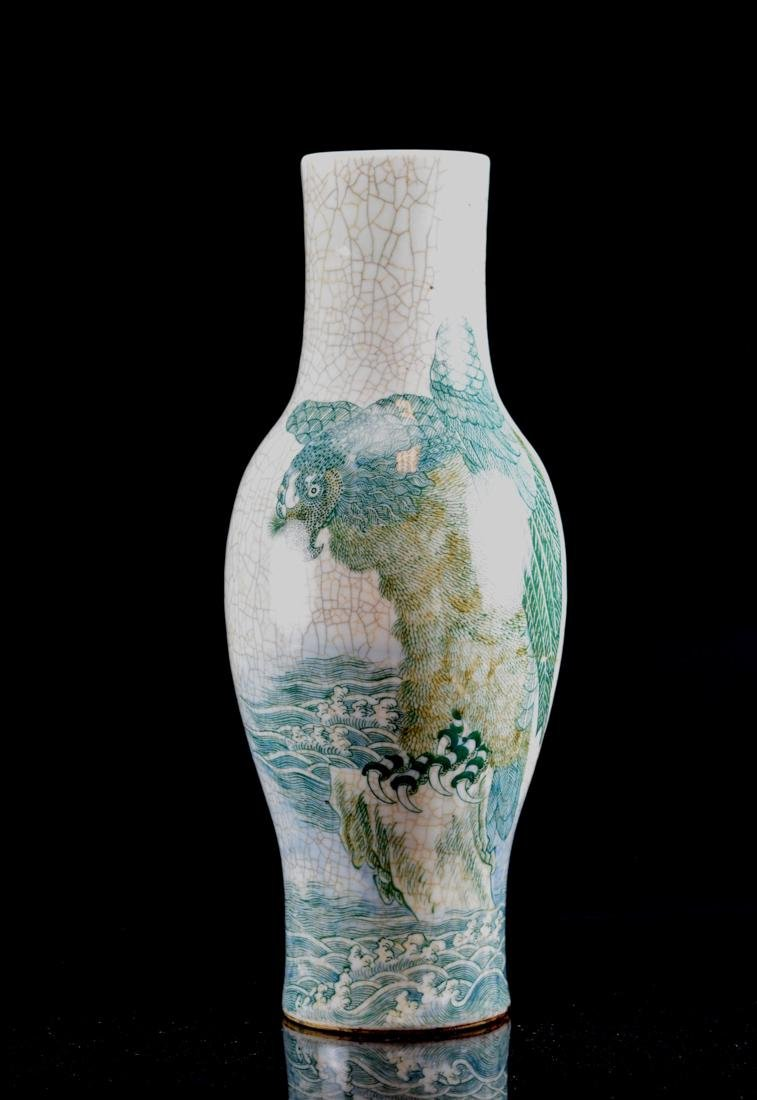 Large Chinese Porcelain Cackle Vase with Hawk Scene