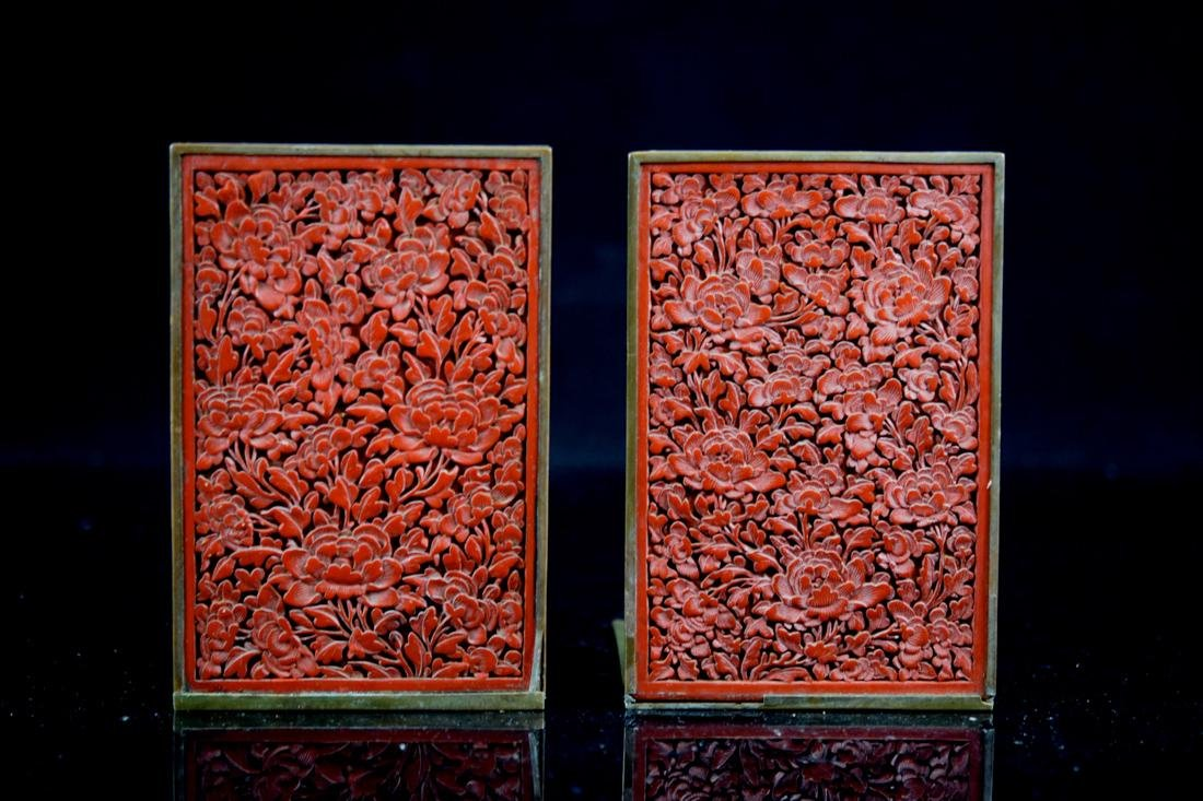 Pair Chinese Cinnebar Lacquer Bookends