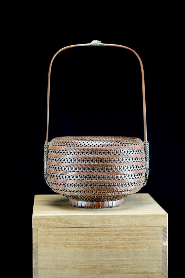 Japanese bamboo Basket in Fitted Box - Signed