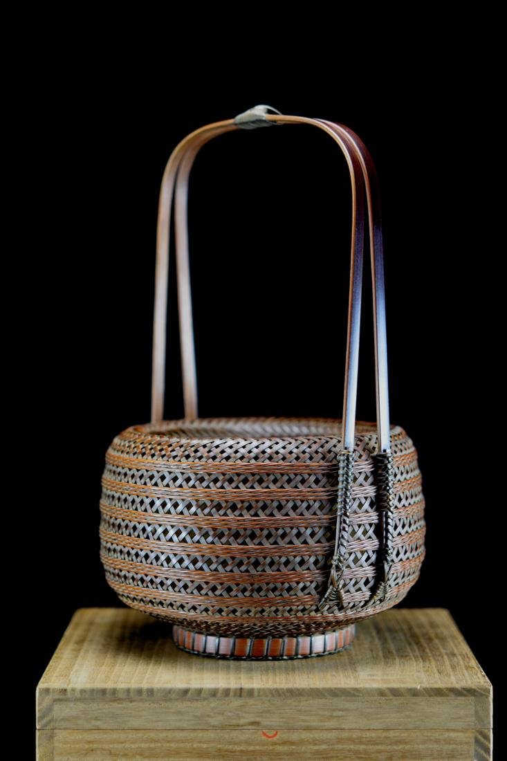 Japanese bamboo Basket in Fitted Box - Signed - 3