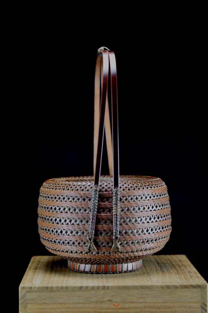 Japanese bamboo Basket in Fitted Box - Signed - 4