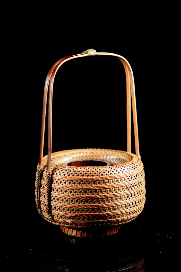 Japanese bamboo Basket in Fitted Box - Signed - 8