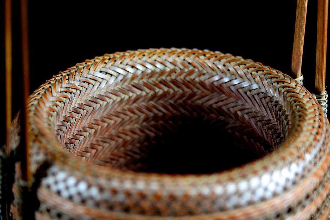 Japanese bamboo Basket in Fitted Box - Signed - 9