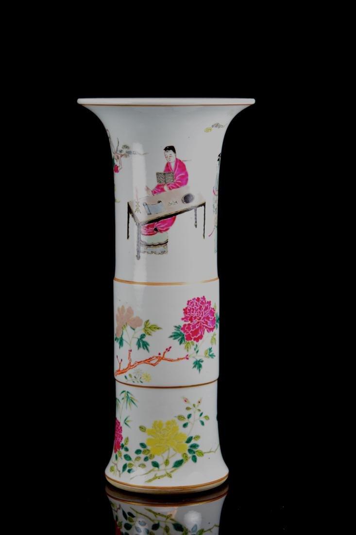 Chinese Famill Rose Porcelain Beaker Vase