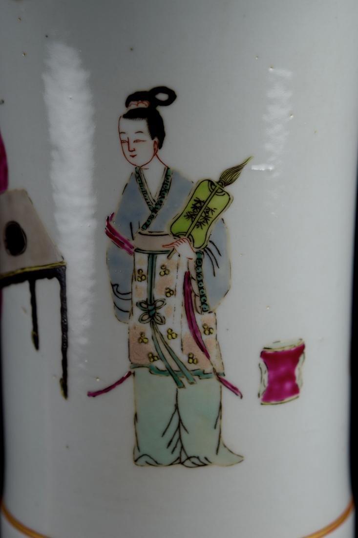 Chinese Famill Rose Porcelain Beaker Vase - 5