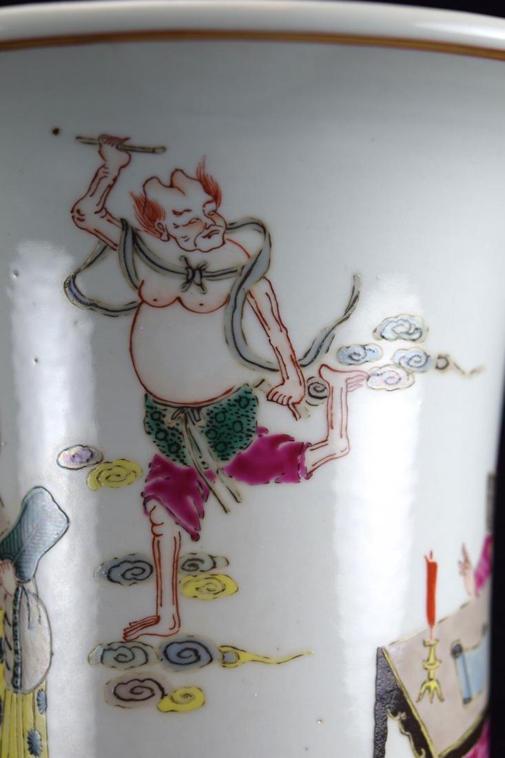 Chinese Famill Rose Porcelain Beaker Vase - 6