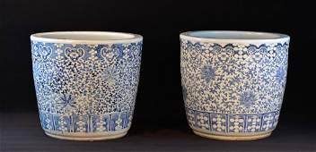 Large Pair Chinese Blue White Porcelain Planter