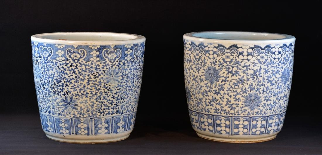 Large Pair Chinese Blue White Porcelain Planter