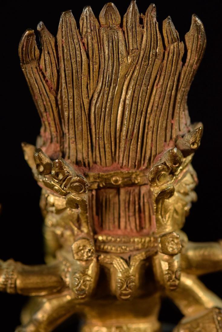 Sino Tibetan Gilt Bronze Yab Yum - 8
