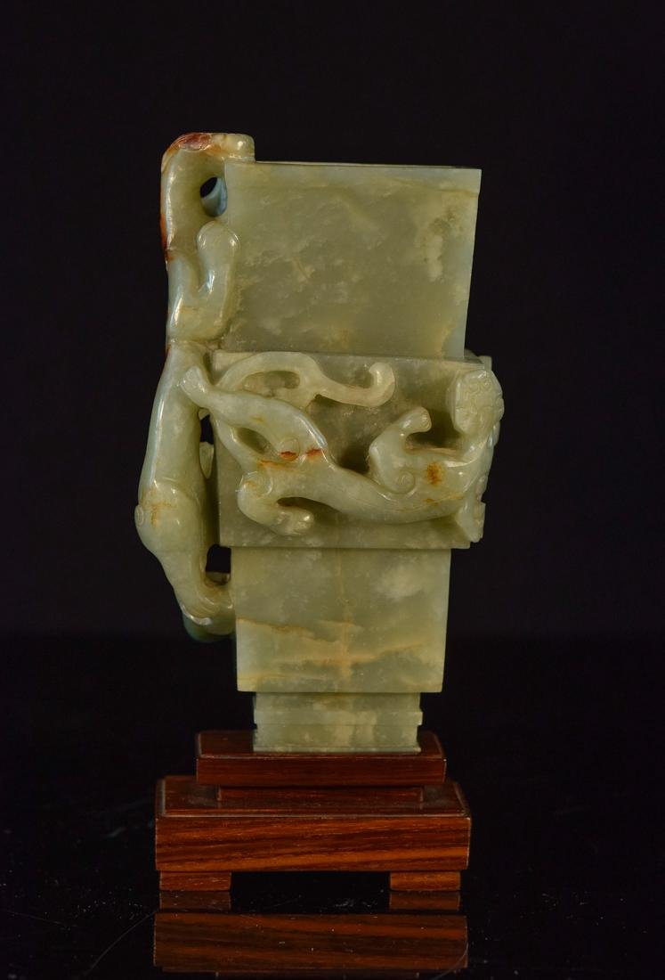 Chinese Celadon Jade Vase with Dragon - 5