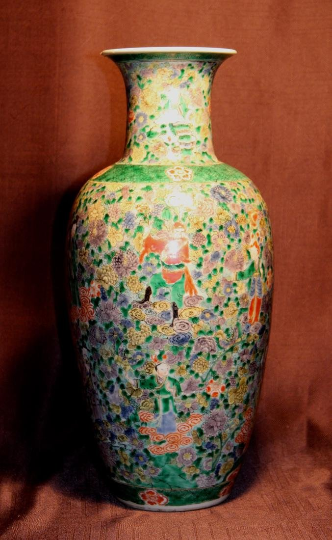 Chinese Famille Verte Porcelain Vase with Immortals