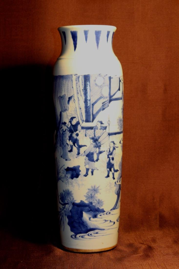 Chinese Blue White Clydrical Porcelain Vase with