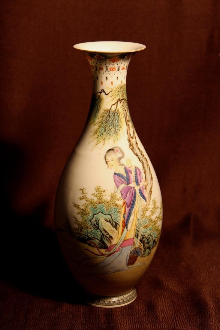 Chinese Eggshell Porcelain Vase with Beauty
