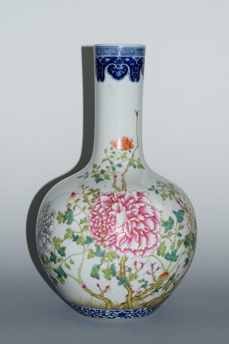 Chinese Famille Rose Porcelain Vase with Peony Scene