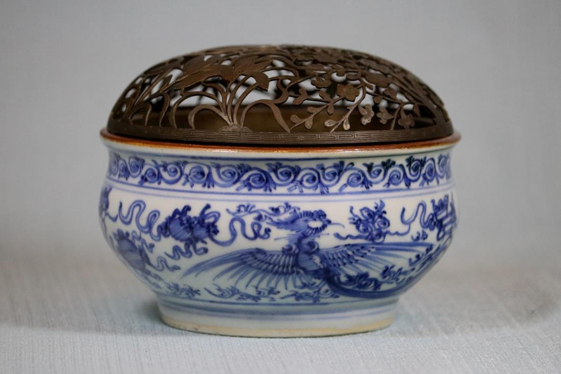 Chinese Ming Blue White Porcelain Censer with Copper
