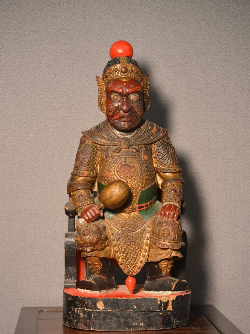 Chinese Lacquered Wood Temple Guardian