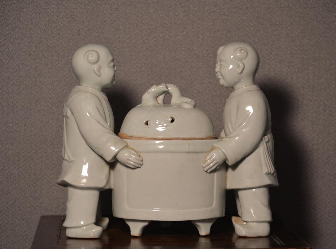 Japanese Hirado Porcelain Censer with Boys