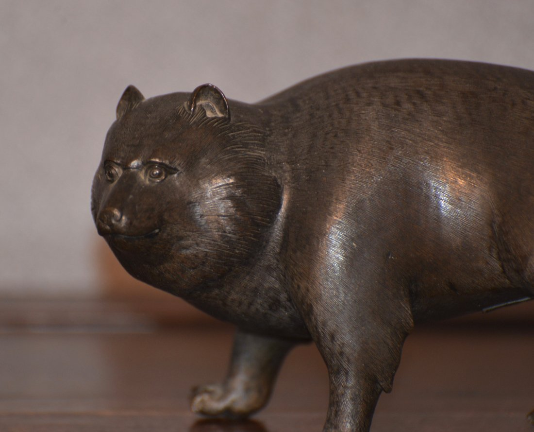 Japanese Bronze Bear - Signed