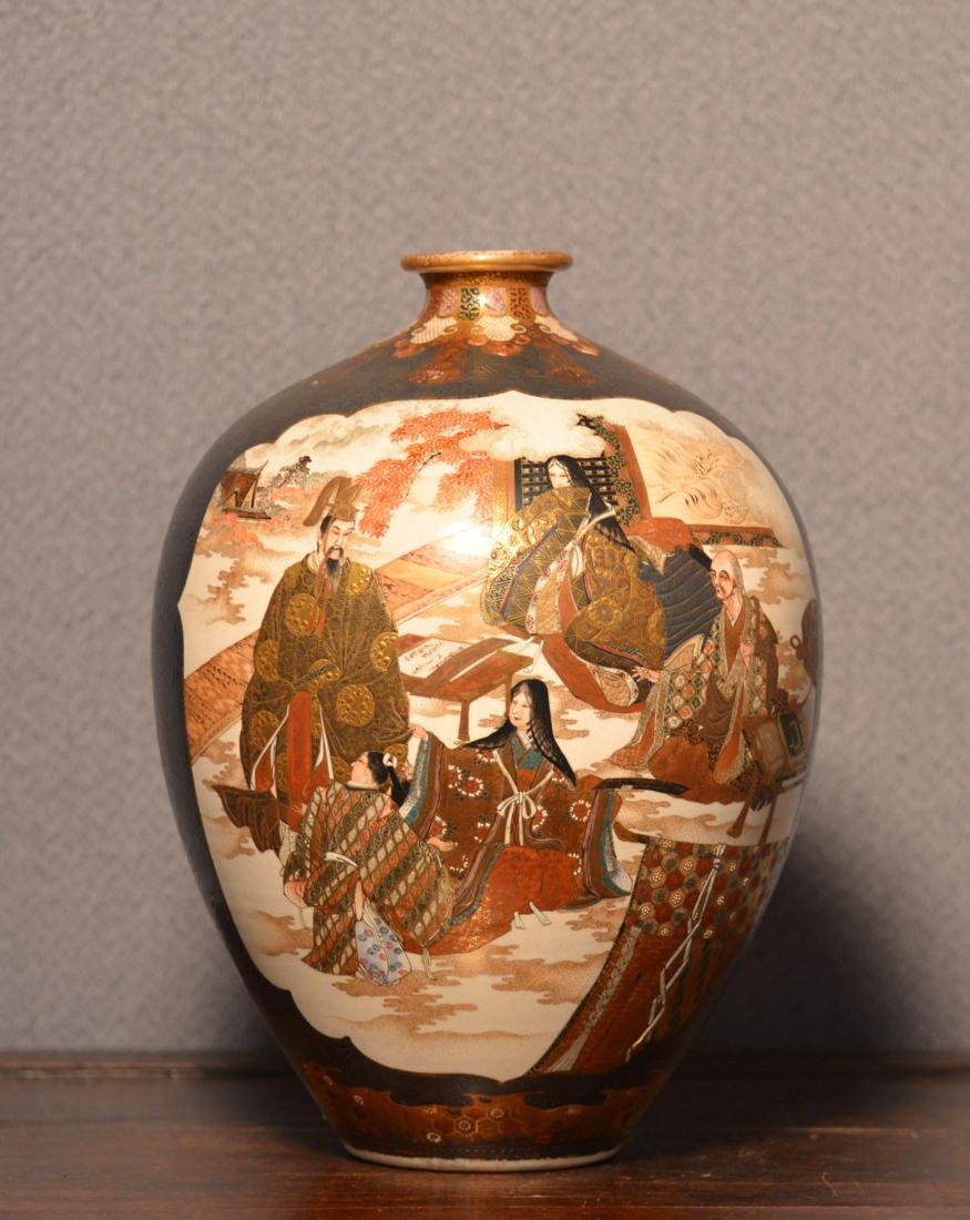 Japanese Satsuma Vase with Silver Overlay by Kinkozan
