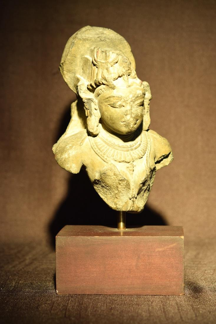 Indian Stone Head of a Dancer