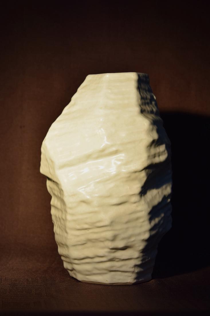 Japanese Modern Vase of Rock Form with White Glaze