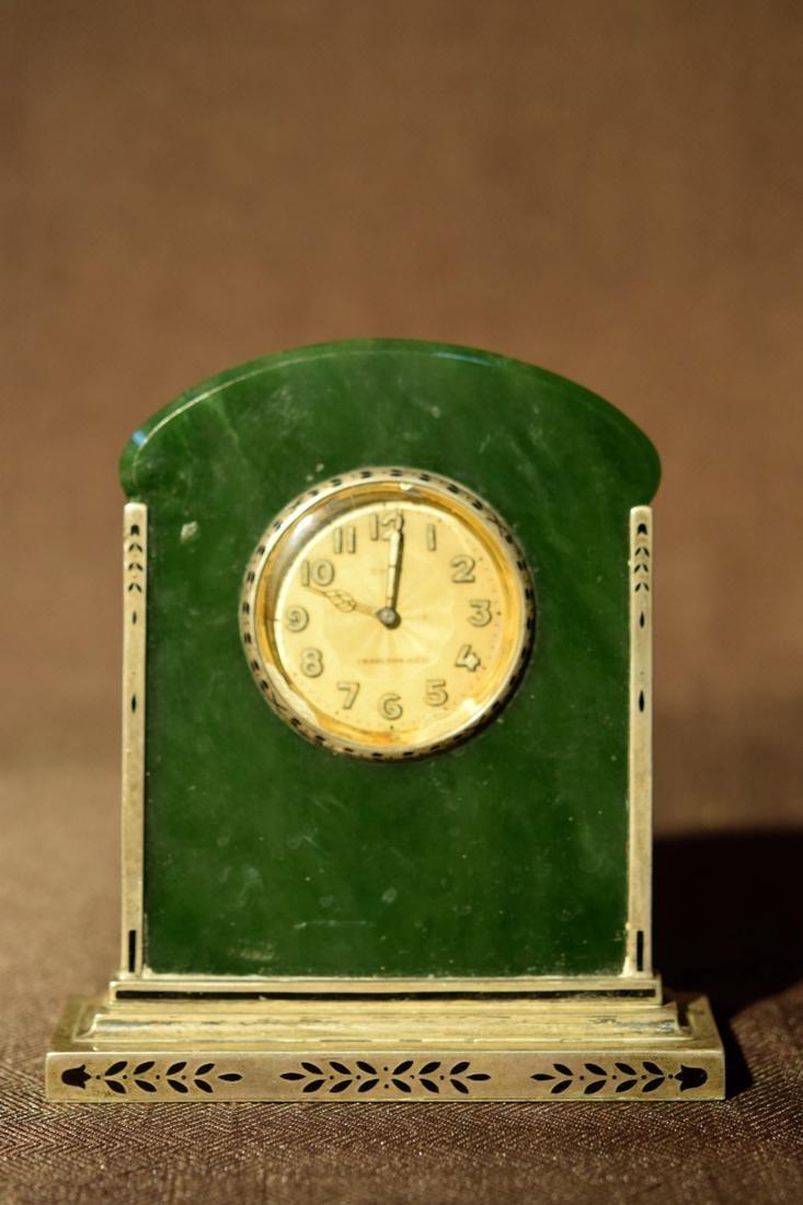 Art Deco Spinach Jade and Silver Desk Clock