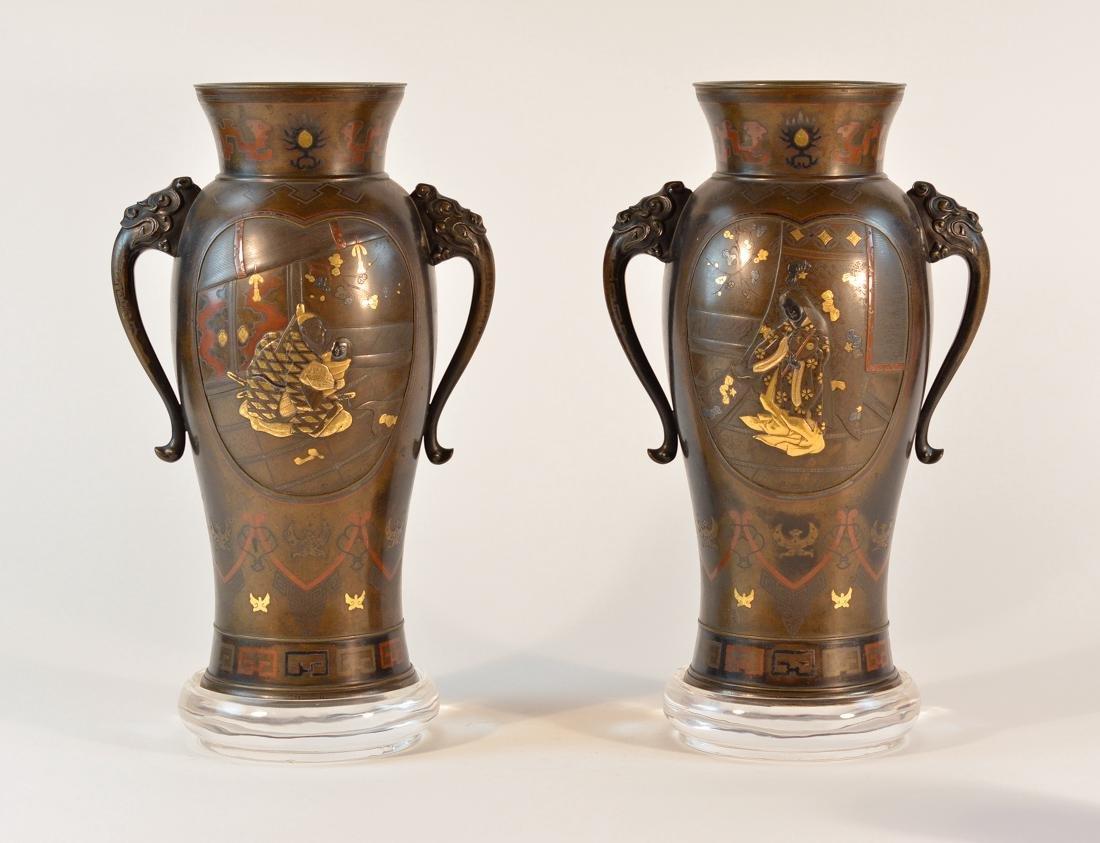 Pair Stunning Japanese Mixed Metal Bronze Vases