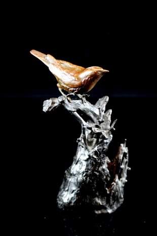 Japanese Bronze Bird on Tree Stump