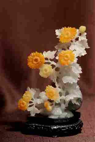 Chinese Jadiate Vase with Bright Yellow Flowers