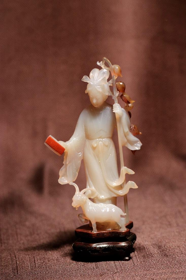Chinese Agate Carving of a Beauty with Ram