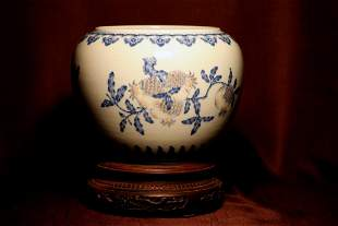 Chinese Porcelain Scholar Fishbowl with Wood Base