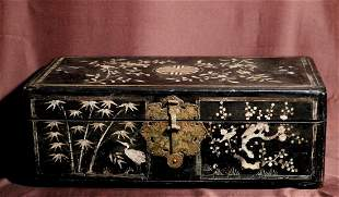 Antique Koran lacquer Trunk with Mother of Pearl Inlay