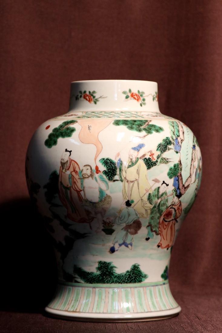 Chinese Famille Verte Porcelain Blauster Jar
