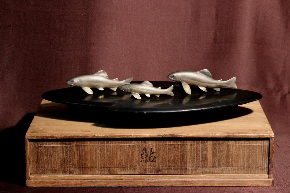 Japanese Mixed Metal Koi Group on Lacquer Stand -