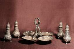 Chinese Export Silver Set  Dish with Salt Pepper