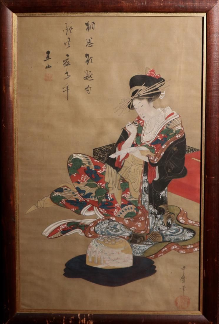 Rare Ukiyo-e Painting on Silk Signed by Litagawa