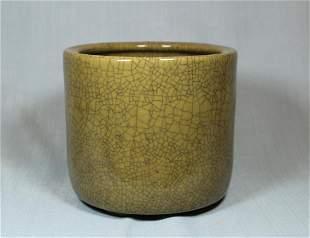 Chinese Guan Crackle Glazed Porcelain Brushpot - Albert