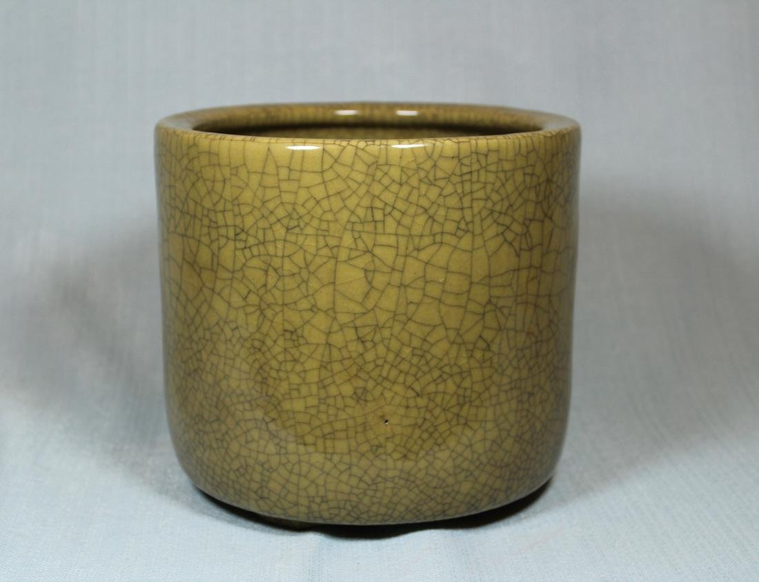 Chinese Guan Crackle Glazed Porcelain Brushpot - Albert