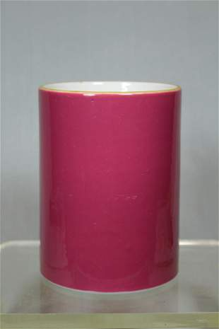 Chinese Pink Glazed Porcelain Brushpot - Albert