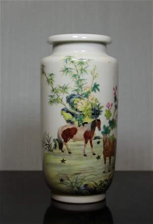 Chinese Porcelain Vase with Horse Scene - Albert