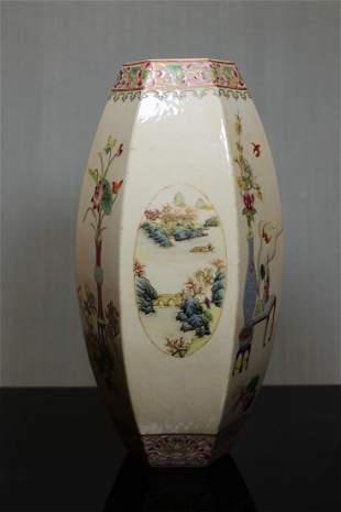 Chinese Famille Rose Hexagonal  Porcelain Vase - Abert