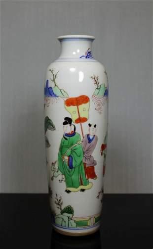 Chinese Wucai Vase with Boy Scene - Albert Gallatin