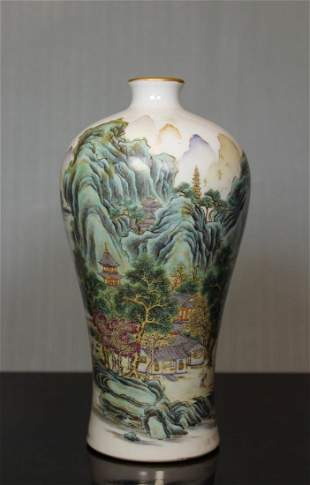 Chinese Landscape Meiping Vase - Albert Gallatin Estate